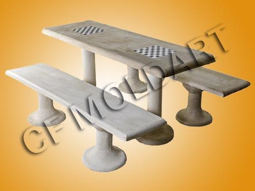 mesa jardim concreto : mesa jardim concreto:Conjunto de mesa retangular de concreto c/ e Tabuleiro p/ jogos de