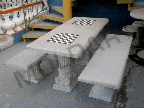 mesa jardim concreto : mesa jardim concreto:Conjunto de mesa retangular em concreto c/ e Tabuleiro p/ jogos de
