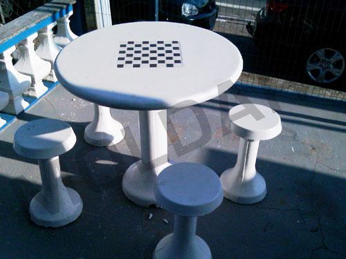 mesa jardim concreto : mesa jardim concreto:Conjunto de Mesa Circular em Concreto c/ banco e Tabuleiro p/ jogos de